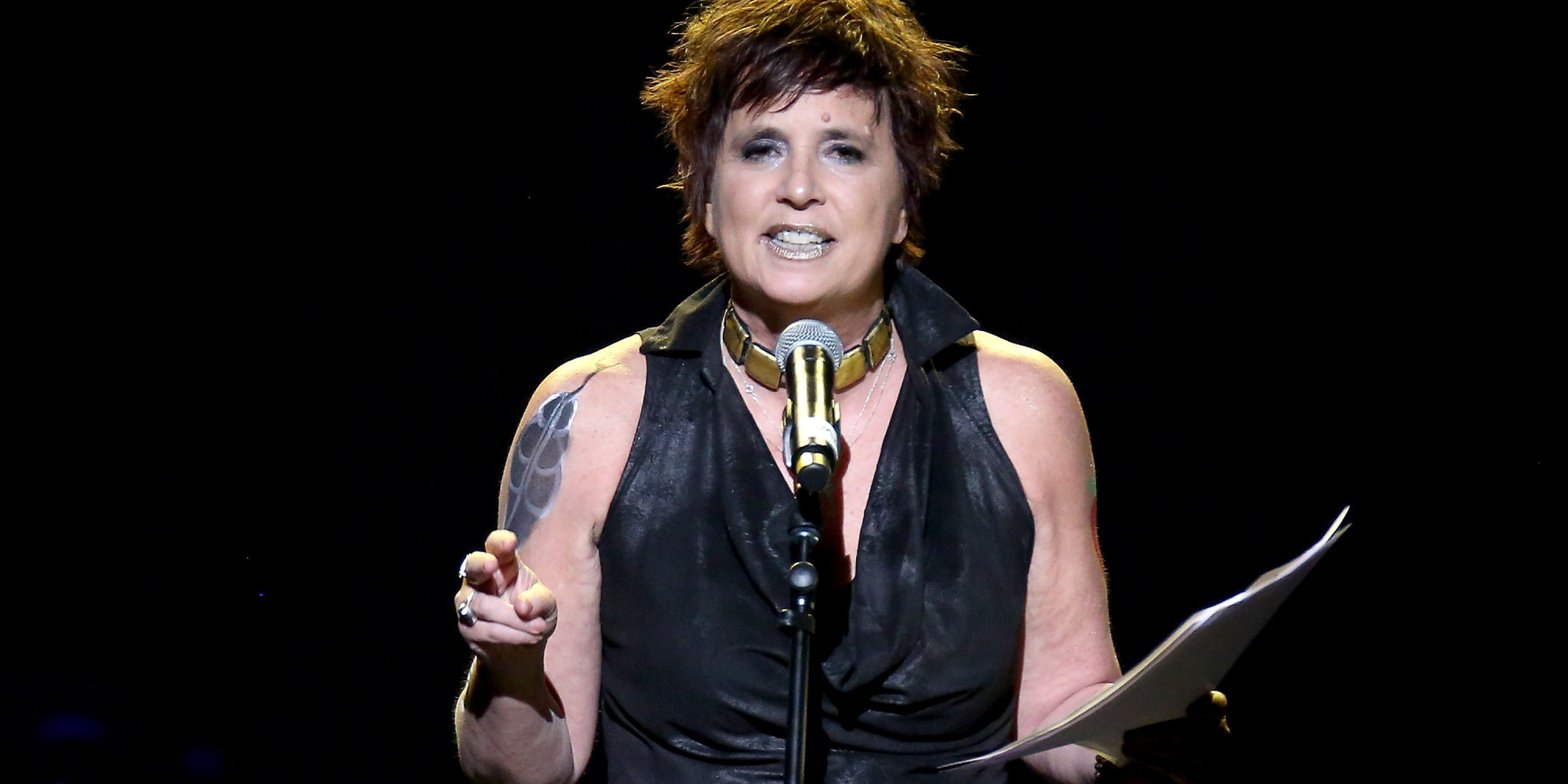 NEW YORK, NY - FEBRUARY 07: Actress and V-Day Founder Eve Ensler speaks onstage at the 3rd Annual One Billion Rising: REVOLUTION at Hammerstein Ballroom on February 7, 2015 in New York City. (Photo by Paul Zimmerman/WireImage for V-Day)
